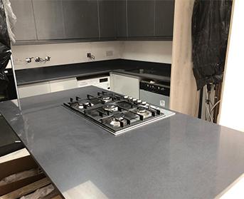 Grey Silver Quartz kitchen worktops